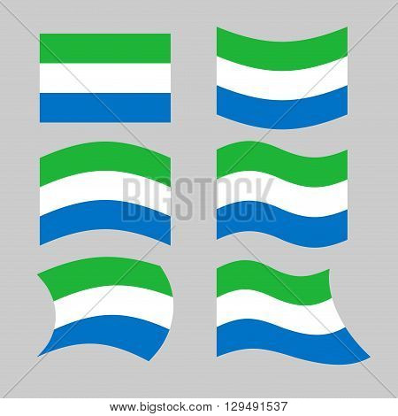 Sierra Leone Flag. Set Flags Siera Leones Republic In Various Forms. Developing State Flag In West A