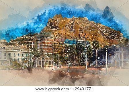 Digital watercolor painting of a Mount Benacantil with a Castle of Santa Barbara (Castillo de Santa Barbara)- fortification in the centre of Alicante city. Valencian Community Costa Blanca. Spain