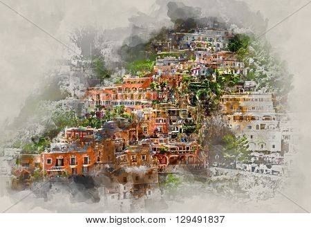Digital watercolor painting of Positano. Positano is a small picturesque town on the famous Amalfi Coast in Campania Italy.