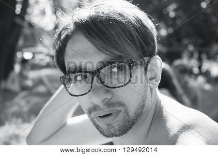 Young Man Wearing In Eyeglasses