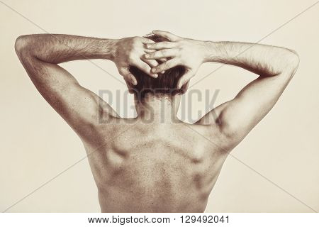 Studio Photography Of Naked Back Of Young Man