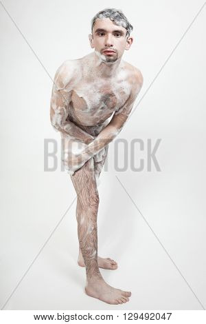 Young Naked Man Taking A Shower