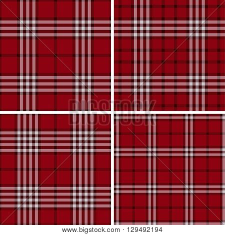 Red Check Plaid Patterns. Lumberjack Flannel Shirt Inspired. Square Pixel Gingham. Seamless Tiles. Trendy Hipster Style Backgrounds. Vector File's Pattern Swatches