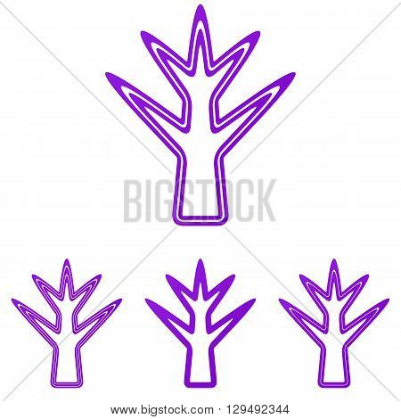 Purple line plant symbol logo design set