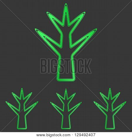Green line plant logo icon design set