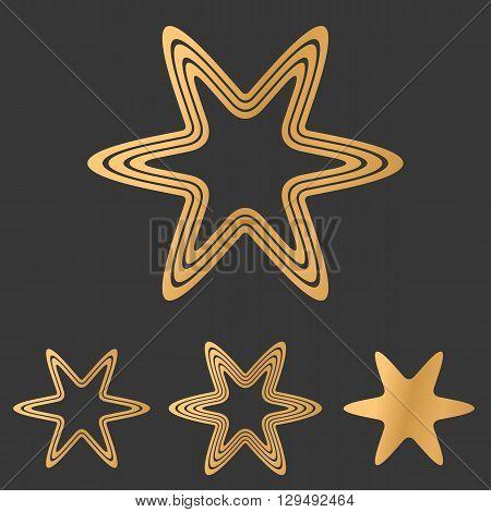 Bronze color line star logo design set
