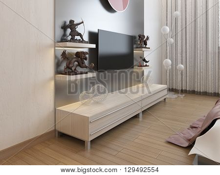 TV shelves and a cupboard under the TV in the bedroom. 3D render.