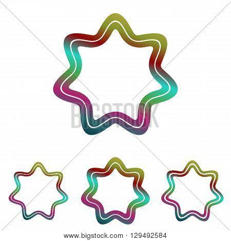 Color line star shape logo design set