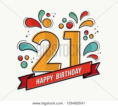 Colorful Happy Birthday Number 21 Flat Line Design
