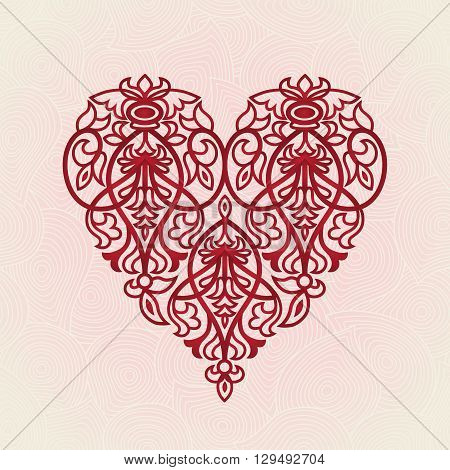 Ornate Red Heart On Pink Seamless Background.