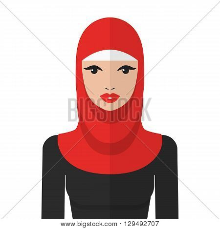 Beautiful muslim woman in hijab vector flat icon. Arab woman portrait.