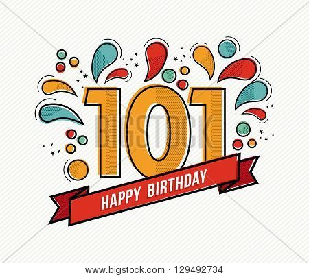 Color Happy Birthday Number 101 Flat Line Design