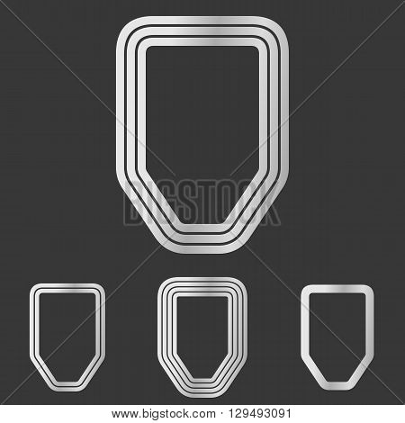 Silver line defense symbol logo design set