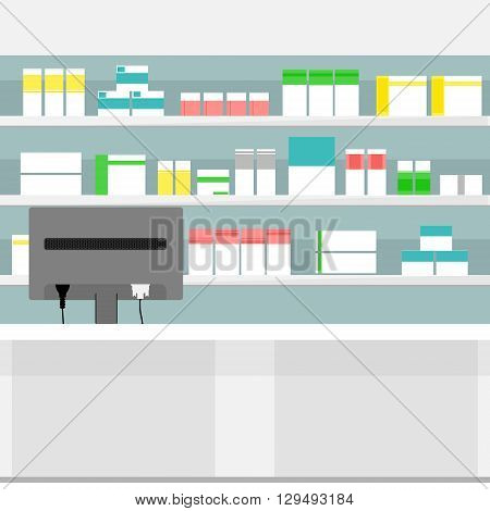 Vector illustration pharmacy shelves with medicine pills bottles liquids and capsules. Various Pills and Drugs For Sale Display on Pharmacy Shelves.