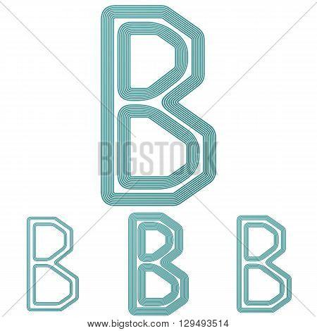 Teal line b letter logo design set