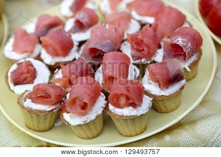 Tartlets With Cheese And Fish