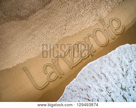 Lanzarote written on the beach