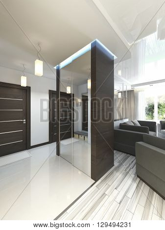 Hall with a corridor in Contemporary style with a wardrobe and a sliding wardrobe. 3D render.