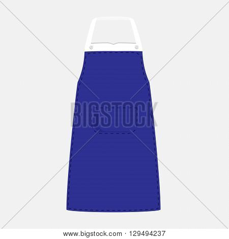 Vector illustration blue kitchen apron with pocket. Kitchenware apron design isolated on grey background