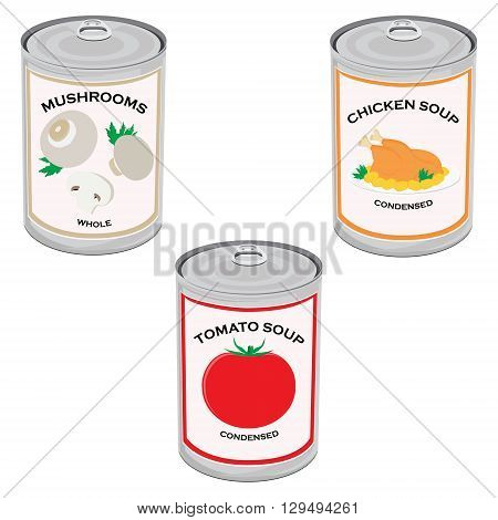 Vector illustration canned food set collection. Tomato soup chicken soup and mushrooms. Metal tin can