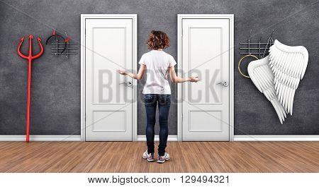 3d illustration of girl before a white doors