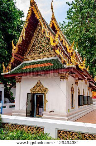 Buddhism religion in the architectural monument. Wat Mahathat Yuwaratrangsarit Bangkok Thailand.