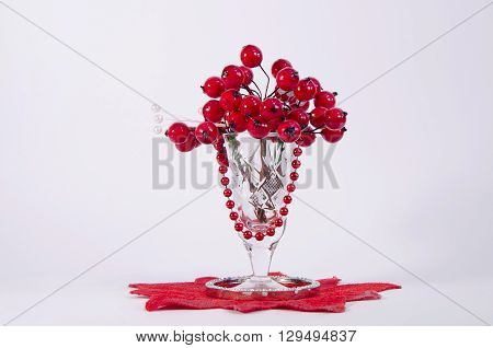 a red decorative viburnum in glass on a light grey background