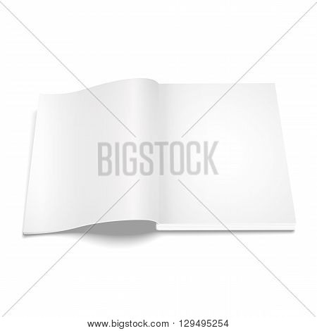Blank opened magazine template on white background  illustration.