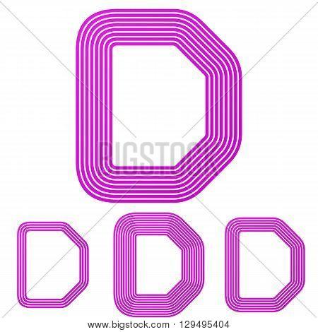 Magenta line letter d letter logo design set
