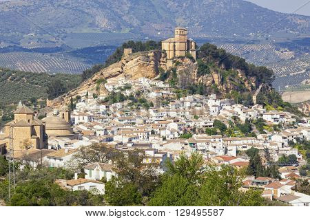 Village of Montefrio, Andalusia, with moorish fortress on the hill