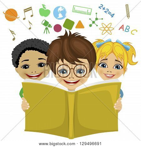 Kids reading a book with education related icons flying out. Imagination concept on white background