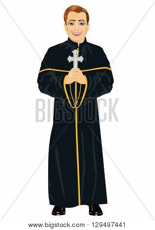 Young christian priest in cassock holding a cross on white background