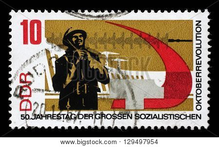 ZAGREB, CROATIA - JULY 02: a stamp printed in GDR shows 50th Anniversary of the Russian October Revolution, circa 1967, on July 02, 2014, Zagreb, Croatia