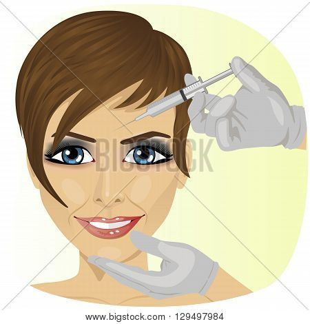 Close-up of woman having botox treatment at beauty clinic