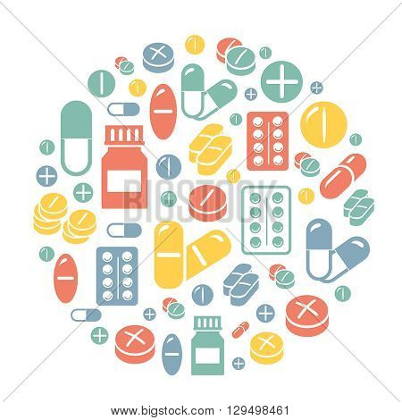 Medical pills icons circle colored background, card.