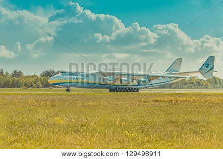 Hostomel, Ukraine - May 10, 2016: AN 225 Mriya, the largest aircraft ever built,  departs from runway on Hostomel Airport to Prague, world tour
