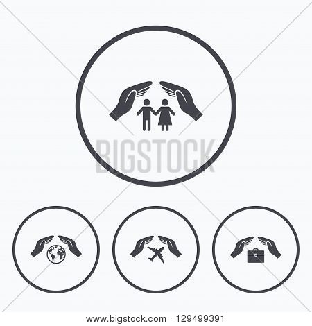 Hands insurance icons. Human life insurance symbols. Travel flight baggage symbol. World globe sign. Icons in circles.