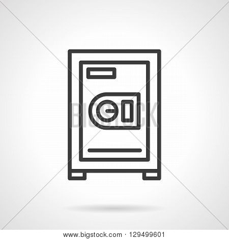 Closed metal safe box. Safe storage for money and wealth at home, banking, security systems. Security equipment. Simple black line vector icon. Single element for web design, mobile app.