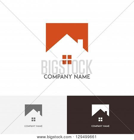 Real estate logo - house, window and chimney on the roof on the white background