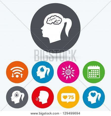 Wifi, like counter and calendar icons. Head with brain icon. Female woman think symbols. Blood drop donation signs. Love heart. Human talk, go to web.