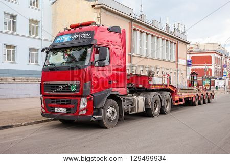 SAMARA RUSSIA - MAY 8 2016: Trailer Truck Volvo parked at the street in summer day