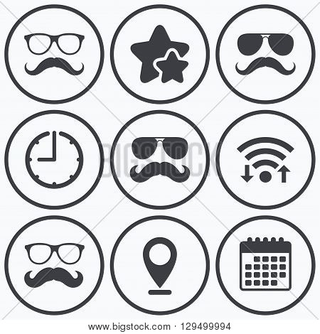 Clock, wifi and stars icons. Mustache and Glasses icons. Hipster symbols. Facial hair signs. Calendar symbol.