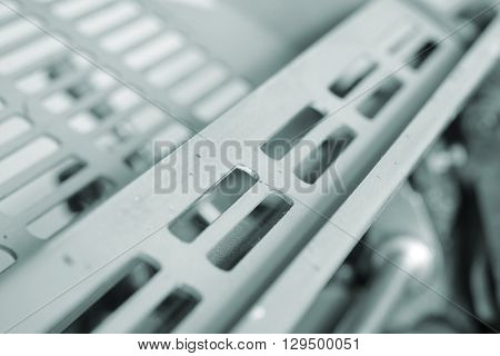 Body of the technological equipment. Macro photo