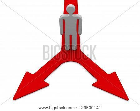 The choice of two options. Symbolic man stands at the fork of the two red arrows. The concept of decision-making. Way choice. Isolated. 3D Illustration