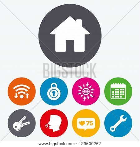 Wifi, like counter and calendar icons. Home key icon. Wrench service tool symbol. Locker sign. Main page web navigation. Human talk, go to web.