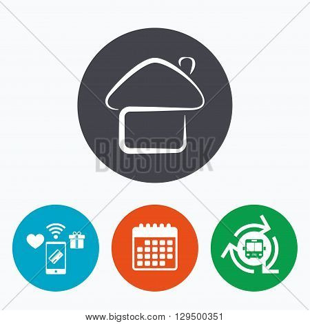 Home sign icon. Main page button. Navigation symbol. Mobile payments, calendar and wifi icons. Bus shuttle.