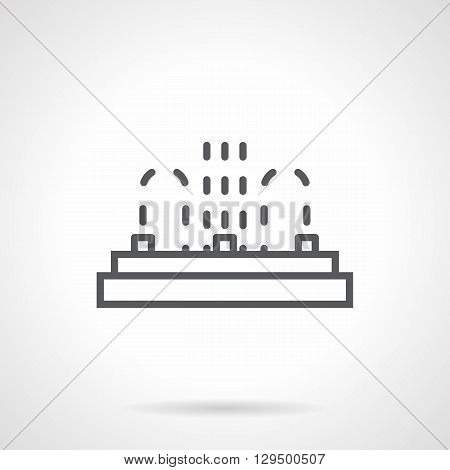 Row of three fountain points. Installation service of fountains. Organization of public recreation and festivals, water show. Simple black line vector icon. Single element for web design, mobile app.