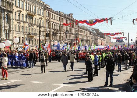 St. Petersburg, Russia - 1 May, The people at the celebration of the first of May, 1 May, 2016. Day festive demonstration on the Nevsky Prospect in St. Petersburg, the first of May.