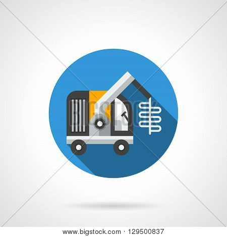 Sugar beet harvester with long shadow. Beet harvesting technology. Agriculture and farming. Round flat color style vector icon. Web design element for site, mobile and business.