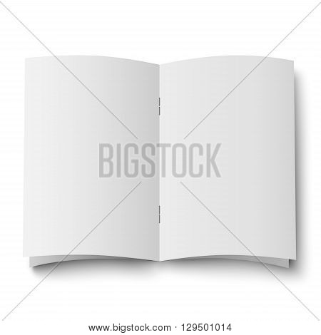 Blank white opened double spread of magazine journal isolated